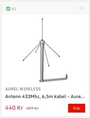 Med en antenn som Aurel GP 433 kan du förlänga räckvidden om dina 433 MHz-prylar kräver längre avstånd än vad gatewayen medger.