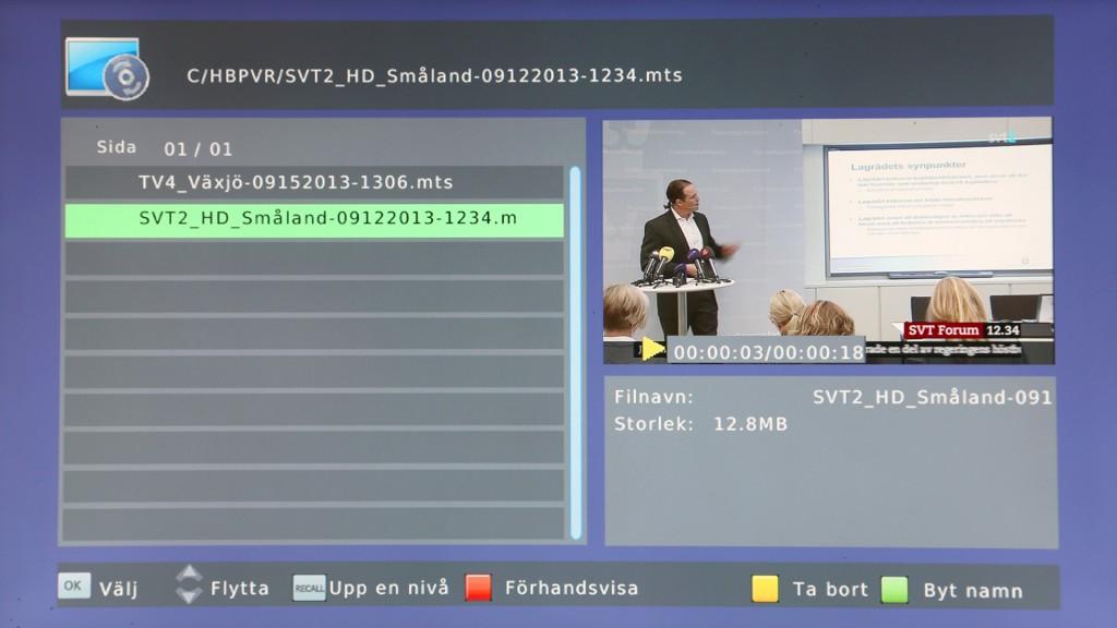 Ansluter du en hårddisk eller ett usb-minne till mottagarens usb-port kan du även förprogrammera och göra inspelningar av tv-program.