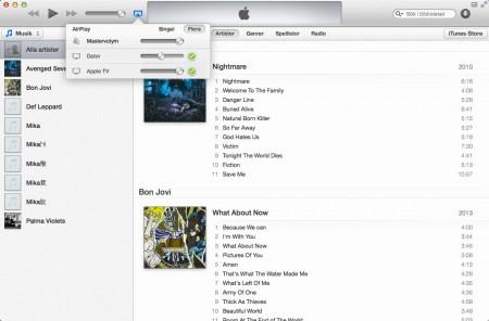 När du spelar upp musik i iTunes kan du välja var den ska spela upp – i datorn, i hemmabion via Airplay till Apple TV eller både och med individuell volymhantering.
