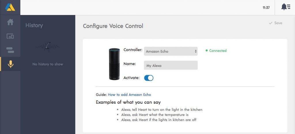 Animus Heart hittar själv digitala röstassistenter i nätverket och samarbetar gärna med Google Home och Amazon Echo.