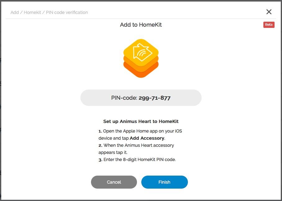 Det går alldeles utmärkt att koppla ihop Animus Heart med Apples HomeKit.