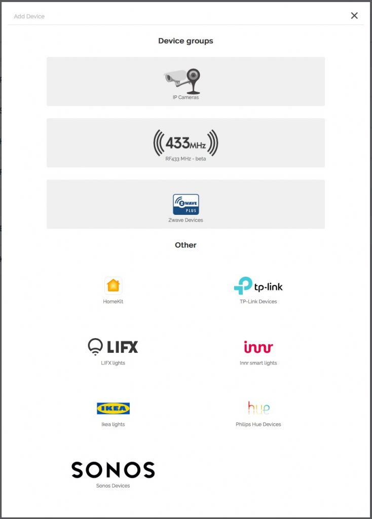 Animus har gjort ett gott jobb med att bygga in stöd för en mängd olika enheter, både våra vanliga Z-Wave och 433 MHz prylar och mer varumärkesbetonade sådana.