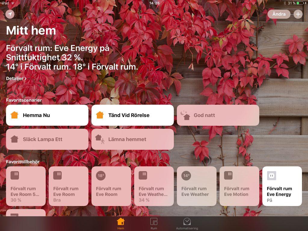 Startar du Apples HomeKit-app för första gången visas bara en vägg. Så här ser det ut när HomeKit-prylar lagts till, automatisering aktiverats och scenarier skapats.