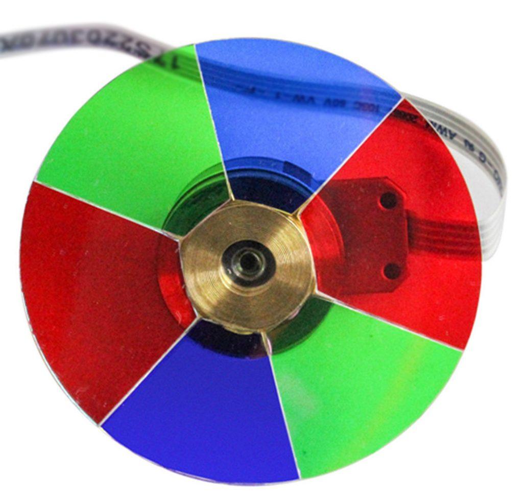 Ett färghjul med dessa färger ger DLP-projektorer som Benq W1700 egenskaper som liknar LCD-projektorer i färgsättningen trots att bilden byggs upp med en färg i taget.