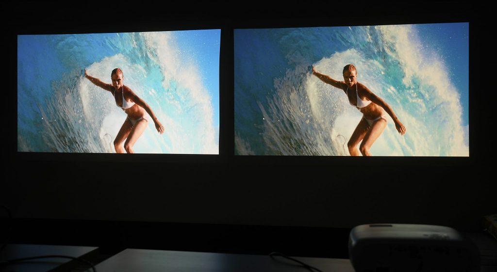 Vilken bild gillar du bäst? Benqs ljusblå TK800 är optimerad för fotboll medan den mörkgrå W1700 ska vara bättre på film. Så vilken av dessa bilder hör till vilken projektor?