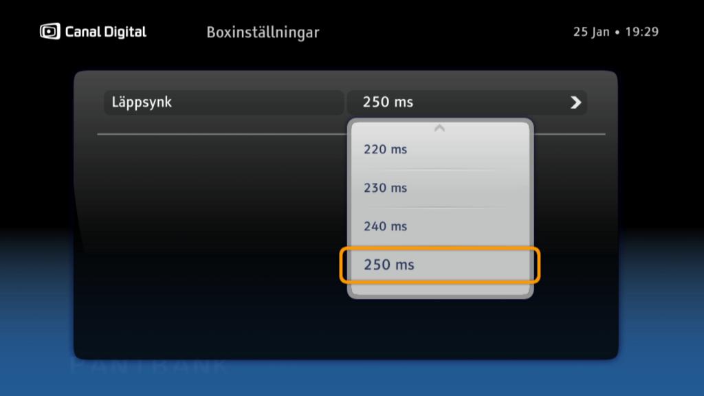 Tycker du att ljud och bild inte överensstämmer kan du ändra läppsynk mellan 0 och 250 ms i steg om 10.