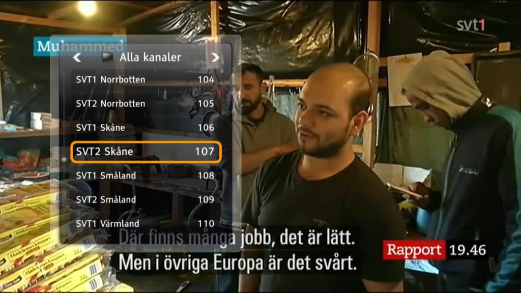 Du kan även snabbläddra mellan kanalerna med ett tryck på Enter. Vill du se på lokala nyhetssändningar hittar du hela SVT:s utbud på kanalplats 100 och framåt.