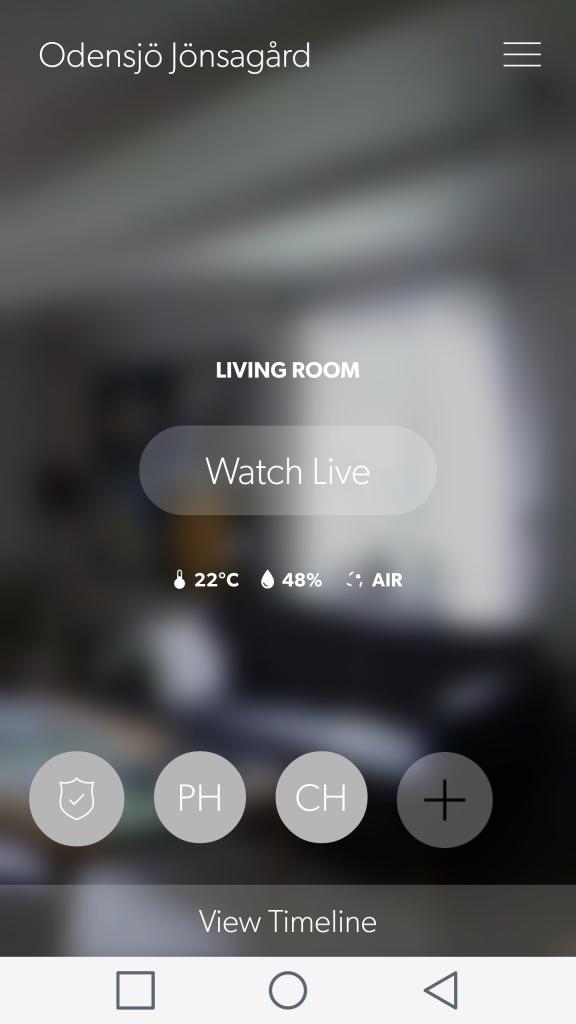 Startskärmen i appen ger möjlighet att se live-video och läsa av sensorparametrar.