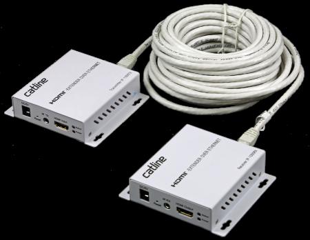 Catline IP-1000 är en hdmi-förlängare som omvandlar och överför en hdmi-signal via Ethernet-kabel upp till 120 meter.