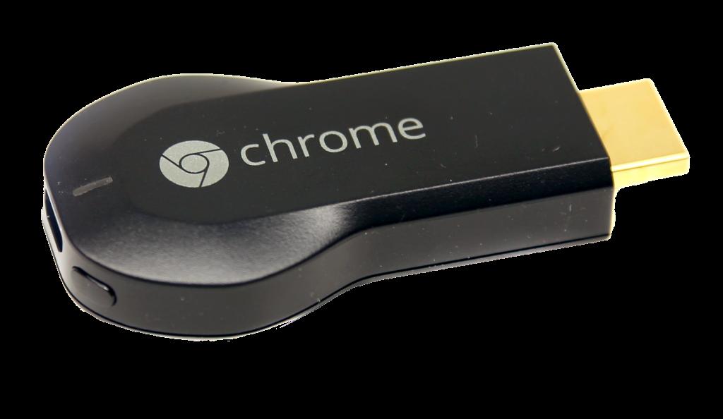Google Chromecast med usb-strömförsörjning, hdmi-anslutning och inbyggt WiFi.