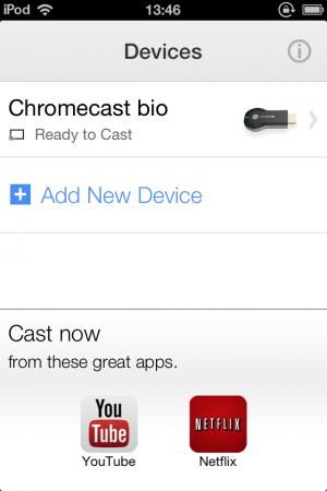 Chromecast i iPod och appar som kan strömma till Chromecast.