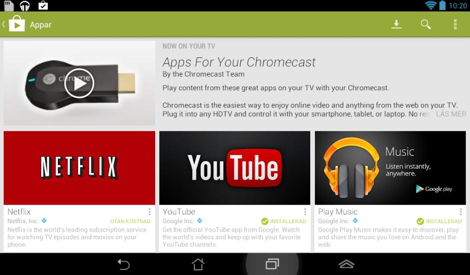 Android-appar som kan strömma innehåll till Chromecast.