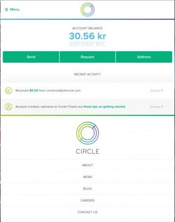 En Bitcoin-plånbok från exempelvis Circle når du både från mobil och webbläsare.