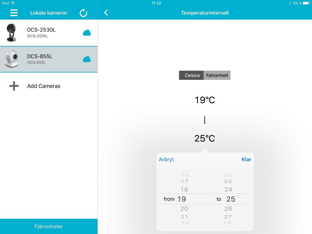 Det är bara DCS-855L som kan larma när temperaturen går över eller under det förinställda intervallet.
