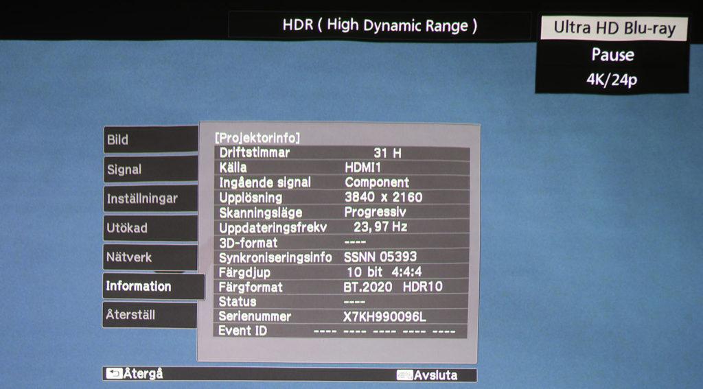 EH-LS500 fixar UHD-film med HDR utmärkt och klarar även den utökade färgrymden BT.2020 med 10-bitars färgdjup.