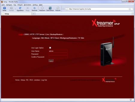 Xtreamer är rikligt utrustad med nätverkstjänster som DLNA-stöd, NAS, medieserver, ftp-server och webbserver. Webbserverdelen innebär att du kan ta del av underhållning och göra inställningar i en dator via nätverket. Tillåter du så går det även att styra Xtreamer utifrån via internet, bara du anger en fungerande DNS-tjänst och öppnar för möjligheten i brandväggen.