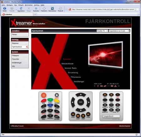 En annan smart funktion är möjligheten att fjärrstyra Xtreamer via nätverk och webbläsare. Det gör det även möjligt att använda en mobiltelefon som fjärrkontroll!