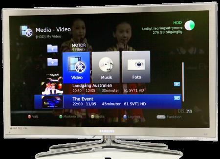 Med dubbla mottagare och timeshift-funktion går det fint att ta emot upp till tre kanaler samtidigt. Inspelade teve-program sparas på den 500 Gbyte stora hårddisken där man även kan lägga in musik, stillbilder och xvid-film.