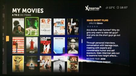Filmöversikt i Boxee.
