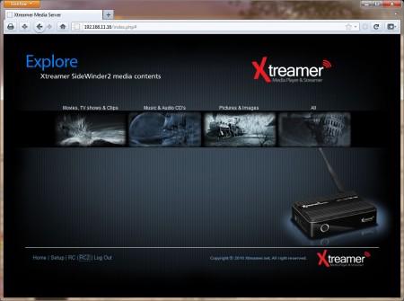 Xtreamern kan även fjärrstyras i nätverk från en webbläsare. Det finns till och med en virtuell fjärrkontroll att ta till.