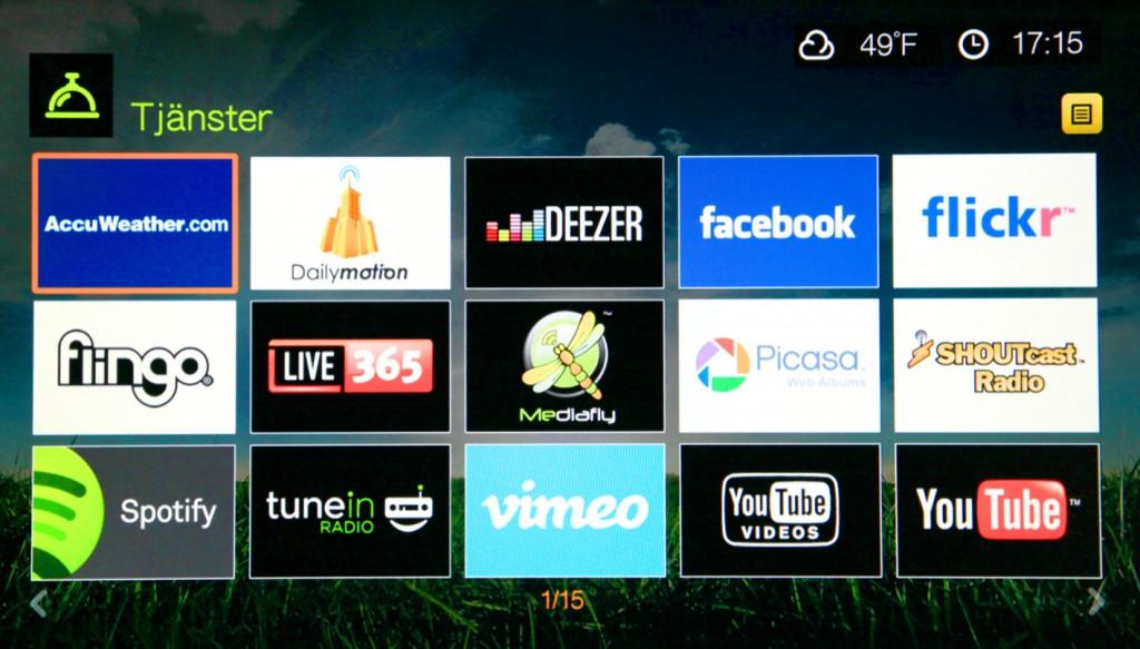 WD TV Live bjuder även på en del onlinetjänster.