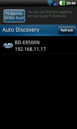 Med appen Samsung TV Remote kan du även styra BD-D8500N med din smartphone.