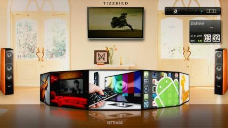 TizzBirds inbyggda gränssnitt med anpassade mediespelare gör det enkelt att navigera med en vanlig fjärrkontroll.