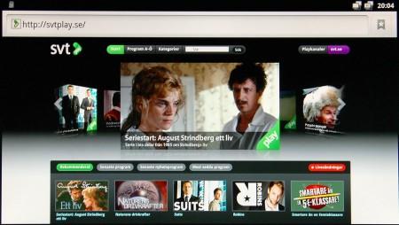 SVT Play i TizzBirds webbläsare.