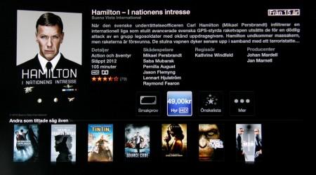 Apples utbud av filmer är ganska välordnat med mycket info. Men det kostar mellan 29 och 49 kronor att hyra en film och nedtankade filmer är Apple TV inte speciellt intresserad av att visa.