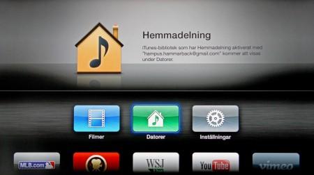 Hemmadelning innebär att Apples mediespelare Itunes kan nås från andra datorer.