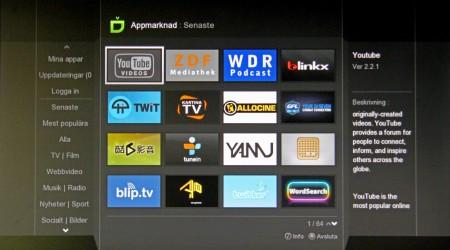 Popbox Appmarknad består av antal olika onlinetjänster som kan installeras och sedan spelas upp. Men så mycket svenskt är det inte.