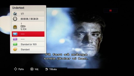 HR925N fixar även att visa undertexter från separata srt-filer, men menysystemet är anpassat för undertexter i dvd- och Blu-ray-film.