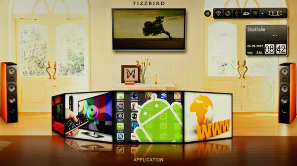 Snyggt mediespelargränssnitt där Android med appar och webbläsare blir till egna bakomliggande flikar.