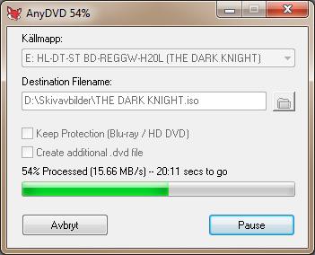 54 procent klart av Batman-filmen The Dark Knight från Blu-ray. 20 minuter rippning med AnyDVD HD återstår. Resultatet blir en filmavbild i form av en iso-fil på 42 Gbyte.