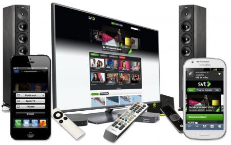 Visst går det att se SVT Play på teven eller projektorn och spela upp ljudet i hemmabioanläggningen!