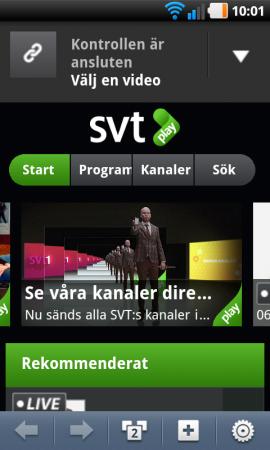 … När du läst in koden öppnas SVT Plays kontrolltjänst i din mobils webbläsare och där fjärrstyr du uppspelningen av den första enheten som kan vara en teve, en dator, en mediebox eller en annan mobil.