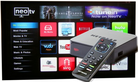 Netgear NeoTV Max är en extern mottagare för WiDi som i sin senaste version även fått visst Miracast-stöd. Förutom att agera WiDi-mottagare bjuder NeoTV även på en hel del amerikanska online-tjänster och DLNA-stöd.
