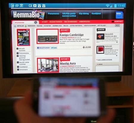 Miracast funkar lika bra i webbläsare som bildvisare, musik och filmuppspelare.