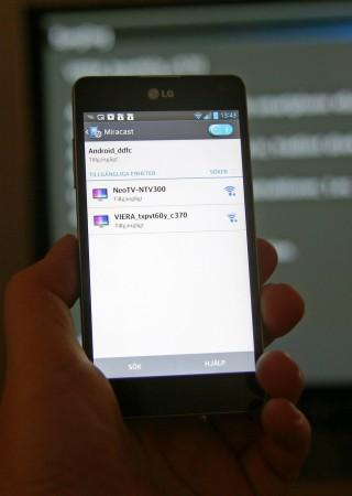 Från version 3.5 har WiDi även fått visst Miracast-stöd och LG Optimus G hittar både Panasonics Miracast-teve och den externa WiDi-adaptern.