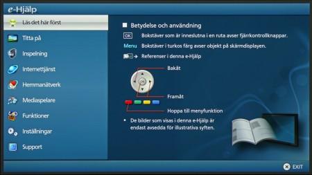 e-Hjälp är handboken i elektronisk form direkt i teven och den har även anpassats för mediet så att den blir lättare att söka och hitta i.