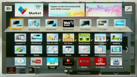 Ett tryck på App-knappen tar dig hit där du kan välja mellan alla dessa appar och funktioner.