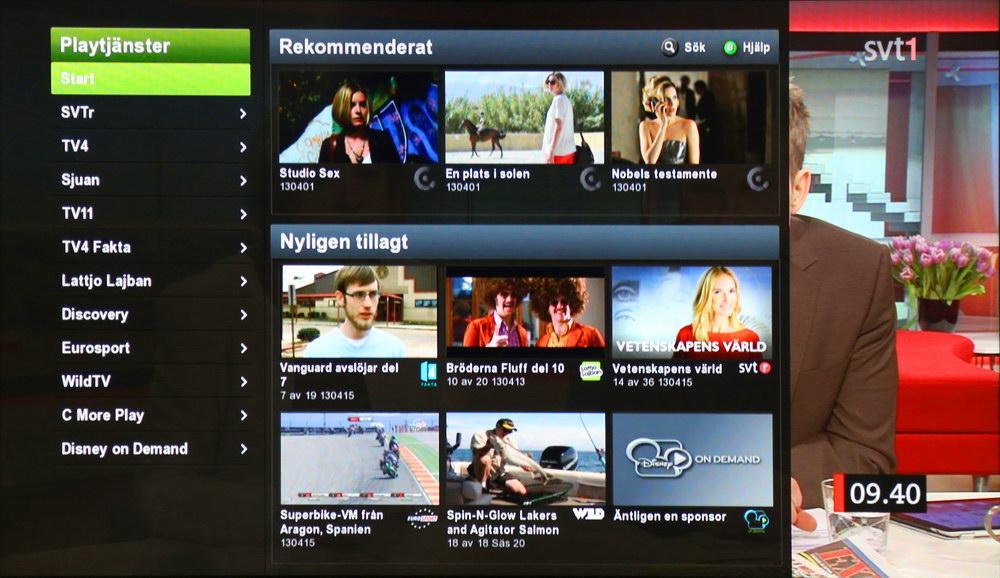 Sagemcom RTI95 klarar även att visa play-tv-tjänster. Det sker dock via ett Boxer-anpassat gränssnitt där ett urval av kanalernas program återfinns.