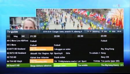 Programguiden visar tv-tablån en vecka framåt och här väljer du enkelt ut de program du vill spela in.