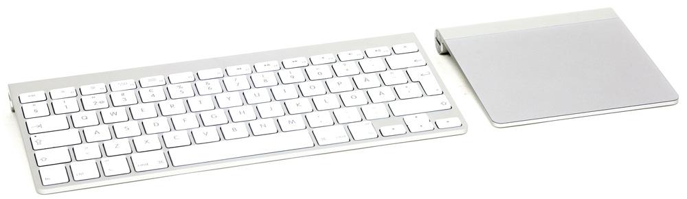 Apples eget trådlösa tangentbord och styrplatta följer inte med i priset. Räkna med cirka 1 300 kr för dessa. Men det finns många andra alternativ.