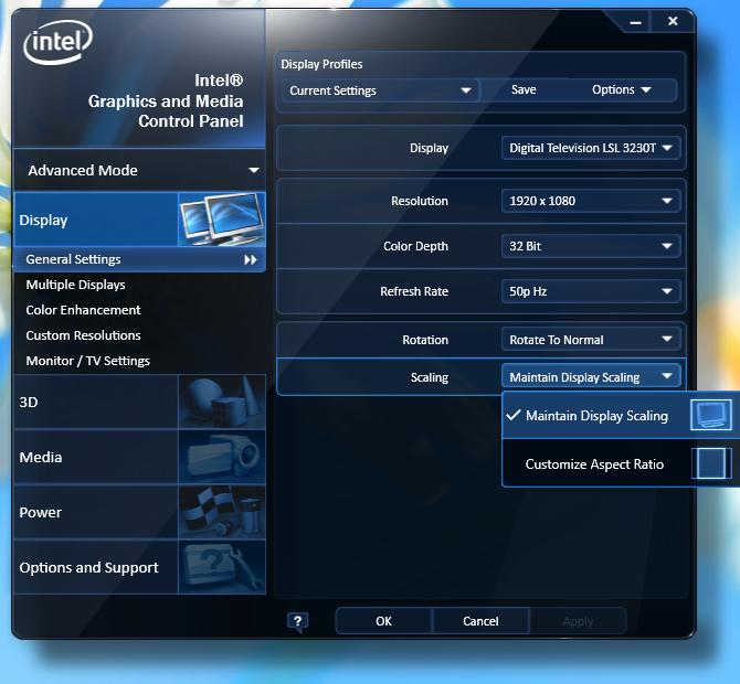 Med Intels grafikdrivrutin i Windows kan du styra det mesta av hur uppspelningen ska ske på en tv.
