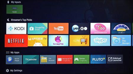 Med Android-TV som bas fås stöd för tv-uppspelning i Ultra HD-upplösning och en hel del ytterligare innehåll. I toppen visas förslag som baseras på dina tidigare val och i menylisterna undertill återfinns förinlagda appar och sådana appar du själv valt att lägga till.