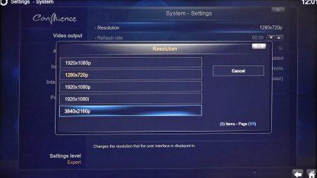 När du väljer OpenElec startas Kodi direct. I och med att det är ett annat operativsystem följer inga inställningar med, så nätverks och Ultra HD-skärminställningar måste göras även i Kodis systeminställningar.