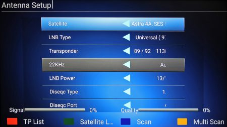 Xtreamers satellitinställningar ger möjlighet till såväl motorstyrning som styrning av LNB-växling vilket gör att du kan lagra inställningar för en mängd olika satellitpositioner och kanaler.