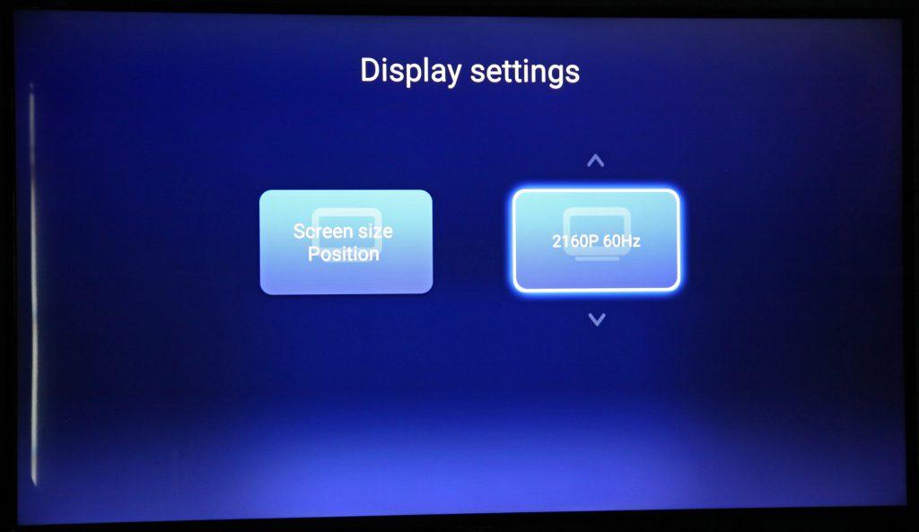 Ultra HD-inställningarna görs antingen via displayinställningarna i Q5:s gränssnitt eller i Android-inställningarna där du även hittar inställningar för HDR-läge och färgdjup.