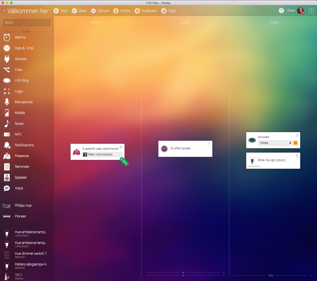Athom kallar styrprogrammet för Desktop app, men det är mer att betrakta som ett vanligt program som finns för Mac och Windows och installeras lokalt på hårddisken. Det är här man installerar enheter, Homeys styrappar och tjänster, gör tidsinställningar, grupperar och delar in enheter i olika rum och automatiserar händelser genom att bygga flöden.